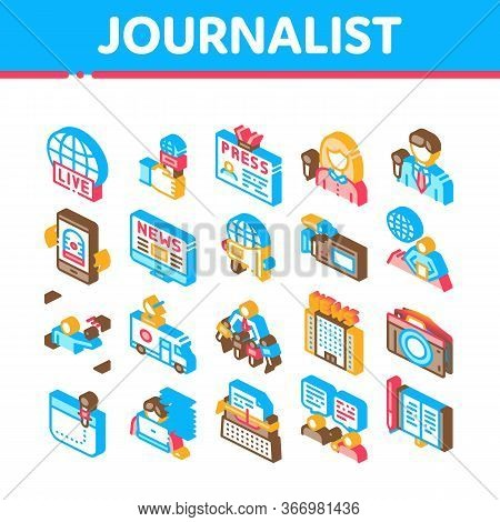 Journalist Reporter Collection Icons Set Vector. Journalist And Hand With Microphone, Video And Phot