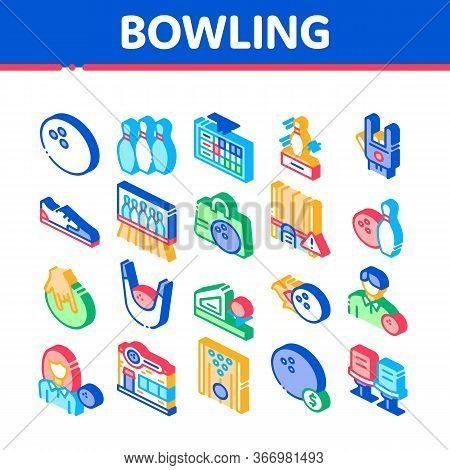 Bowling Game Tools Collection Icons Set Vector. Bowling Ball And Skittle, Building And Stool, Scoreb