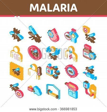 Malaria Illness Dengue Collection Icons Set Vector. Malaria Mosquito, Spray And Protect Cream Bottle