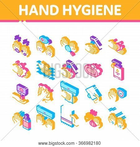 Hand Healthy Hygiene Collection Icons Set Vector. Hand Protection, Washing With Anti Bacterial Soap