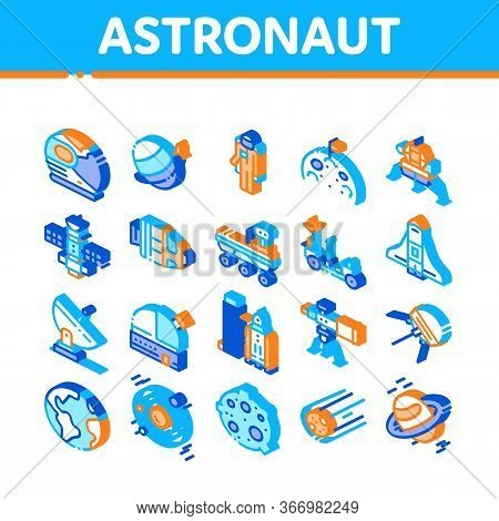 Astronaut Equipment Collection Icons Set Vector. Astronaut Spacesuit And Helmet, Shuttle And Satelli