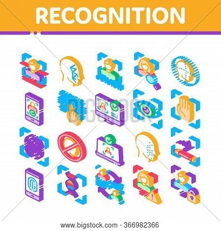 Recognition Collection Elements Icons Set Vector. Eye Scanning, Biometric Recognition, Face Id Syste