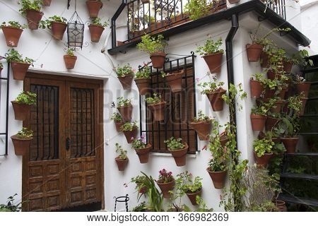 Andalusian patio facade decorated with pots and hanging plants. Cordoba, Andalusia, Spain. Travels and tourism.