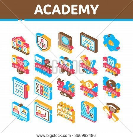 Academy Educational Collection Icons Set Vector. Academy Building And Uniform, Book And Paper With P