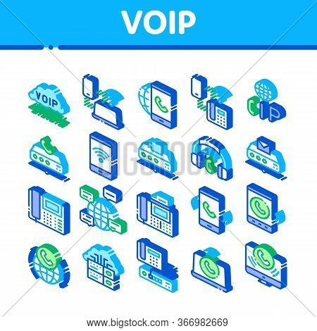 Voip Calling System Collection Icons Set Vector. Server For Voice Ip And Cloud, Smartphone And Phone