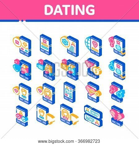 Dating App Collection Elements Icons Set Vector. Smartphone Mobile Dating Love Application . Profile