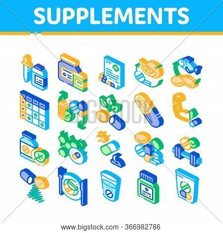Supplements Collection Elements Icons Set Vector. Pills And Drugs, Plastic Container With Dropper Bi