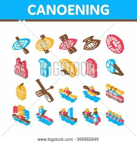 Canoeing Collection Elements Icons Set Vector. Canoe Transportation On Car And Canoening Protection