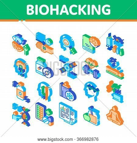 Biohacking Collection Elements Icons Set Vector. Meditation And Brain, Dna And Helix, Genetic And Dr