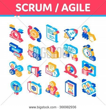 Scrum Agile Collection Elements Vector Icons Set. Agile Rocket And Document File, Gear And Package,
