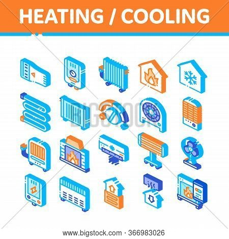 Heating And Cooling Collection Vector Icons Set. Cool And Humidity, Airing, Ionisation And Heating C