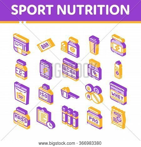 Sport Nutrition Cells Vector Icons Set. Sport Nutrition For Sportsmen Pictograms. Dietary Nutrition,