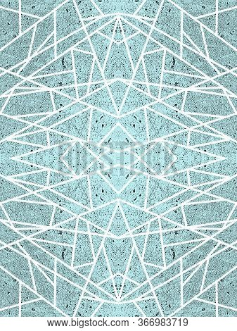 Turquoise Background With White Criss-cross Lines. Open-work Ornament, Kaleidoscope Effect. Abstract
