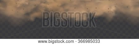 Dust Cloud With Particles With Dirt, Cigarette Smoke, Smog, Soil And Sand Particles.