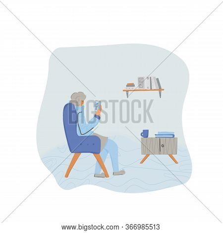 Mature Woman Reading An Electronic Book. Elderly Female Character Enjoying Her Own Company. Senior L