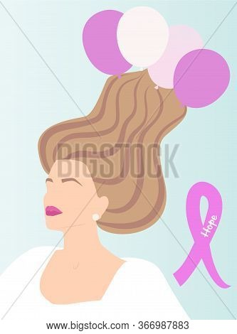 Young Woman Portrait With Long Hair Blown Away With Pink Tone Baloons Blue Background. Breast Cancer