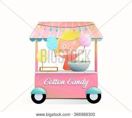 Little Girl Selling Cotton Candy, From The Street Stall With Candy Floss Machine, Pink Color Design