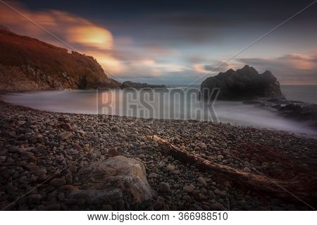Incoming Sea On The Beautiful Rocky Coastline Of Rotherslade Bay, A Small Bay In South Gower Next To