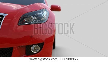 RedCar Isolated on Gray, Close-up, Shallow Depth of Field, Selective Focus, Automobile in Studio, Automobile Industry, 3d Car, Auto Transport, Automotive Background, City Vehicle