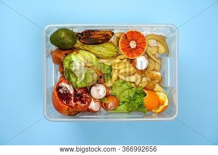 Container With Organic Garbage: Rotten Fruits And Vegetables, Egg Shells, Orange Peel On A Blue Back