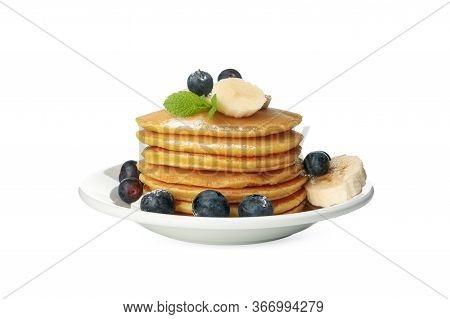 Tasty Pancakes With Fruits Isolated On White Background