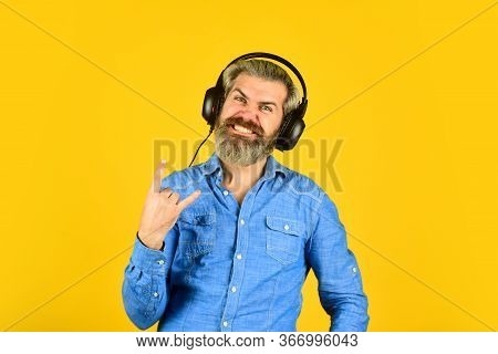 Hipster Enjoy Excellent Sound Song In Earphones. Music Beat. Noise Cancelling Function. Dj Hipster.