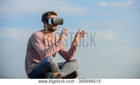 Augmented Reality. Use Modern Technology. Engineering Project. Cyber Space. Virtual Reality. Man Wea