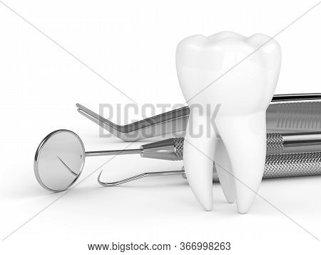 3d Render Of Tooth And Dental Diagnostic Instruments Over White Background