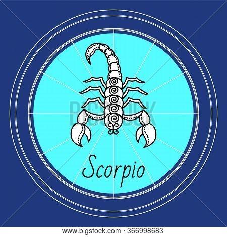 Scorpio Zodiac Sign Decorative Design For Horoscope. Astrology Symbol, Isolated Icon With Scorpion I