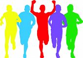 a set of five bright colour runners poster