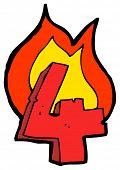 cartoon burning number four poster