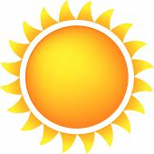 Sun Icon With Flames Color Gradient Orange/Yellow poster