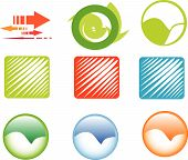 9 circles and cubes icon set in more collors poster