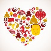 Heart shape with China icons poster