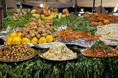 Food at the Jamaa el Fna market Marrakesh, Morocco, April 1,2012 poster