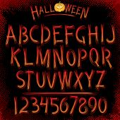 Grunge Halloween Font. Vector Collection of Latin Letters poster