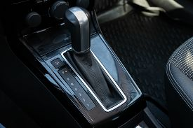 Novosibirsk/ Russia - May 03 2020: Opel Astra, Close-up View Of The Automatic Gearbox Lever. Interio