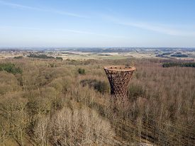 Gisselfeld, Denmark - March 25, 2020: Aerial Drone View Of The Forest Tower At Camp Adventure