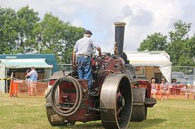 Steam Traction Engine Roller In A Field