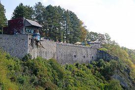 Exterior Walls Of Dinant Citadel In Belgium