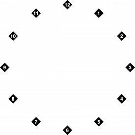Clock Dial Negative Space Numbers On Diamond Transparent Background Designer Cut