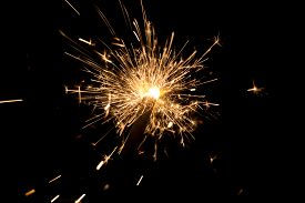 Orange Sparkler Countdown With Spread Of Golden Glitter Sparks. Luxury Entertainment At E.g. New Yea