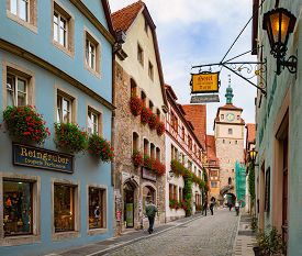 Rothenburg Ob Der Tauber, Germany - September 24, 2014: View On City Street With Tower. Bavaria, Ger