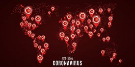 World Statistics On Covid 19 Infection On A Futuristic World Map. Red Markers With The Virus. Scienc