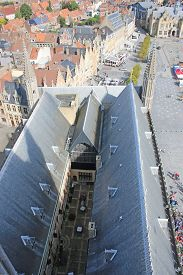 City Of Ypres, Belgium From Above The Main Square