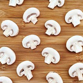 Champignon Mushroom Slice Food Plant Wooden Background Macro Photo
