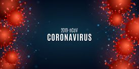Coronavirus On A Blue Background With The Effect Of Plexus .science Banner For Covid 19. 3d Pathogen