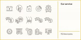 Car Service Line Icons. Set Of Line Icons. Accumulator, Tools, Car Shower. Car Repair Concept. Vecto