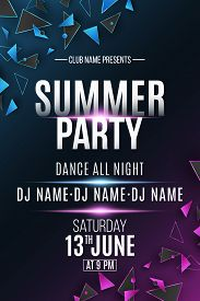 Poster For Summer Party. Polygonal Shapes. Club And Dj Name. Purple And Blue Light Effect. Geometric