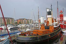 Historic Boats In Swansea Marina In Wales